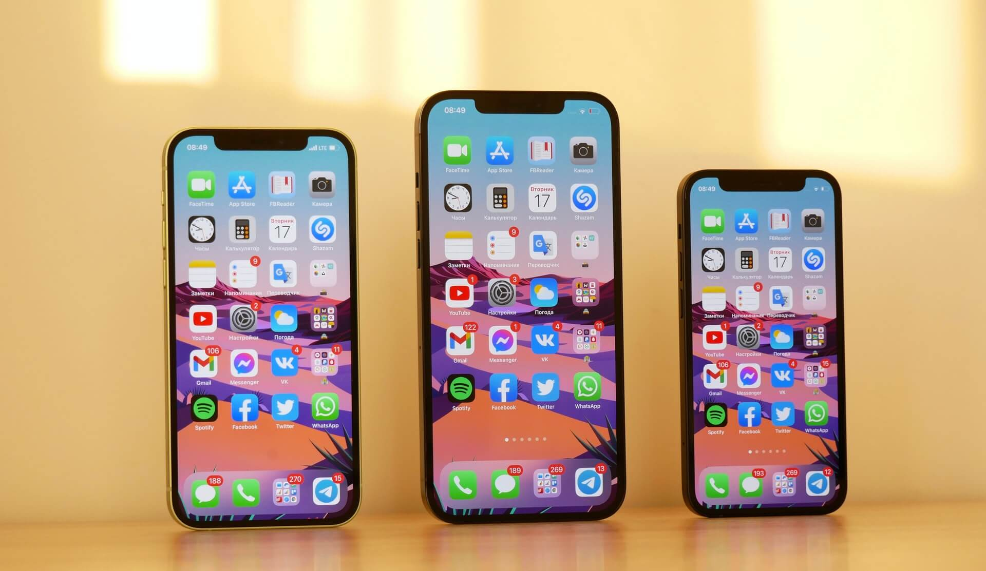 Three iPhone sizes with mobile apps that adhere to app store optimization (ASO) best practices.